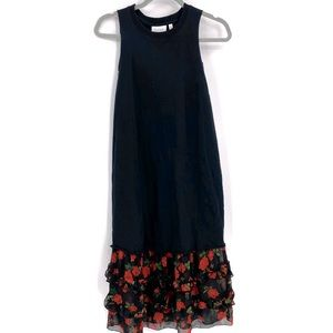 K/Lab Black Sleeveless Maxi Dress W/Bottom Ruffles